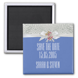 Silver Snow Damask Ribbon Blue Save the date Refrigerator Magnets