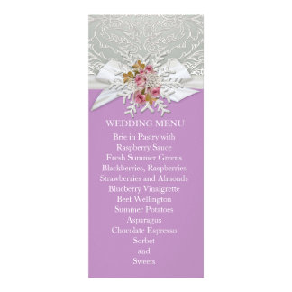 Silver Snow Damask Ribbon Lavender Wedding Menu Personalized Announcement