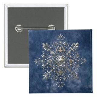 Silver Snowflake 15 Cm Square Badge