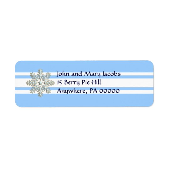 Silver Snowflake and White Lines Holiday Return Address Label