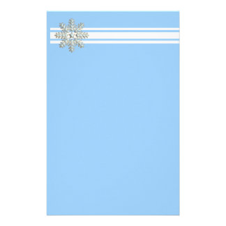 Silver Snowflake and White Lines Holiday Personalised Stationery