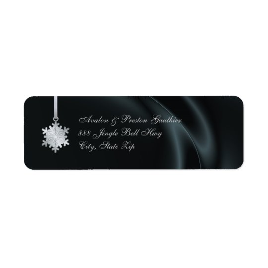 Silver Snowflake Black Silk Holiday Address Labels