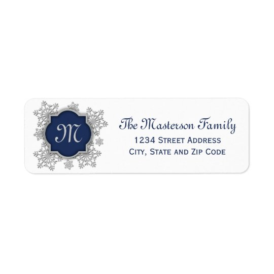 Silver Snowflake Blue Monogram Quatrefoil Return Address Label