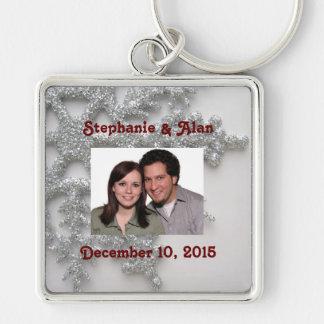 Silver Snowflake Bride & Groom Keychain
