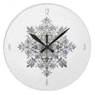 Silver Snowflake Clock