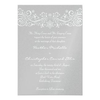 Silver Snowflake Floral Wedding Invitation