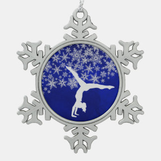 Silver Snowflake Gymnast on Blue Snowflake Pewter Christmas Ornament