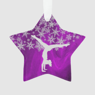 Silver Snowflake Gymnast on Purple Ornament