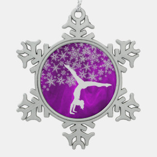 Silver Snowflake Gymnast on Violet Snowflake Pewter Christmas Ornament
