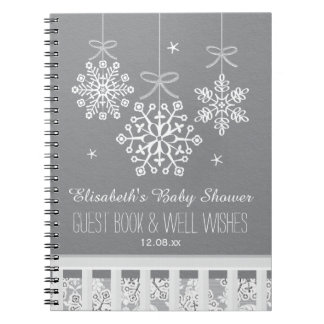 Silver Snowflake Mobile Baby Shower Guest Book Spiral Note Books