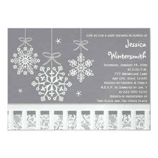 Silver Snowflake Mobile Baby Shower Invitations