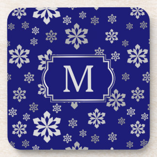 Silver Snowflake Monogram on Royal Blue Coaster