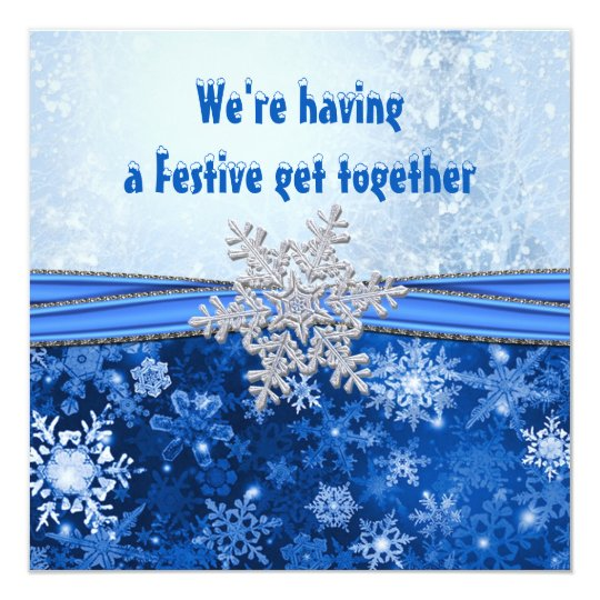 Silver snowflake on blue New Year Holiday party Card