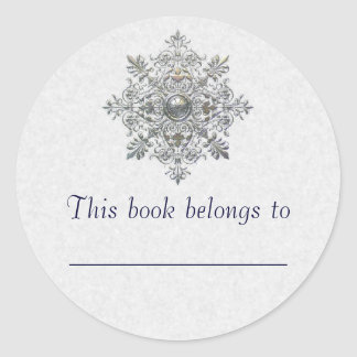 Silver Snowflake Round Stickers