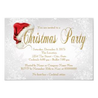 Silver Snowflake Santa Hat  Christmas Party Card