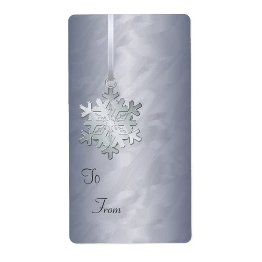Silver Snowflake Silver Foil Gift Tag Label Shipping Label