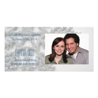 Silver Snowflake Thank You Photo Cards