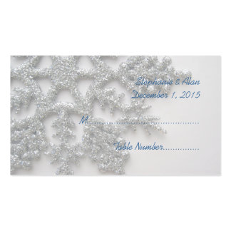 Silver Snowflake Wedding Place Cards Business Card Template