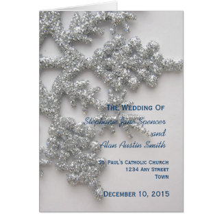 Silver Snowflake Wedding Program Greeting Card