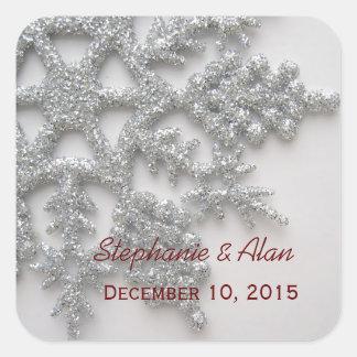 Silver Snowflake Wedding Stickers