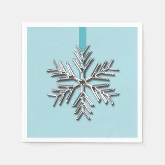 Silver Snowflake Winter Blue Ribbon Christmas Xmas Paper Napkins