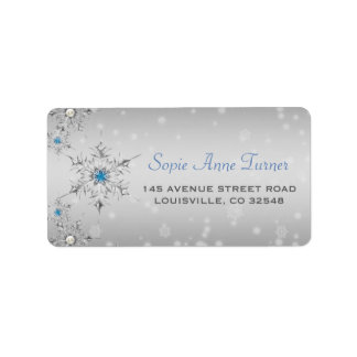 Silver Snowflakes Crystals Silver Pearls Wedding Label