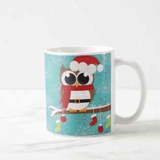 Silver Snowflakes Cute Owl-Personalized Coffee Mug
