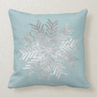 Silver Snowflakes Mint Blue Gray Holidays Kraft Throw Pillow