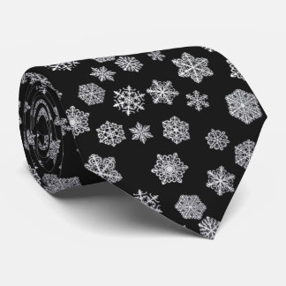 Silver snowflakes on a black background tie