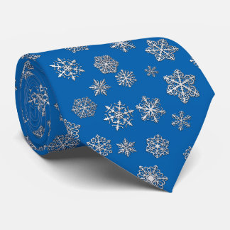 Silver snowflakes on a cobalt blue background tie