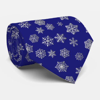 Silver snowflakes on a dark blue background tie