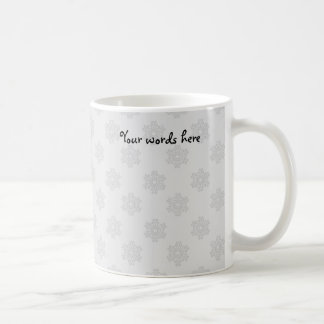 Silver snowflakes on silver background coffee mug