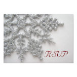 Silver Snowflakes RSVP Card 9 Cm X 13 Cm Invitation Card