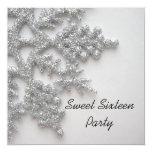 Silver Snowflakes Sweet 16 Birthday Invitation