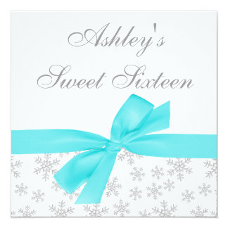 Silver Snowflakes Teal Bow Sweet 16 Invitations