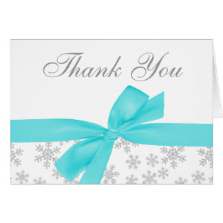 Silver Snowflakes Teal Bow Thank You Card