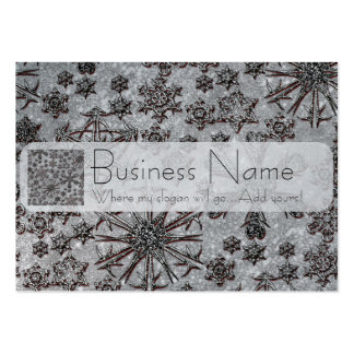 Silver Snowflakes White Glitter Business Cards