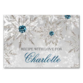 silver snowflakes winter bridal shower recipe card
