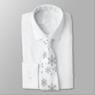 Silver Snowflakes Winter Wedding Neck Tie