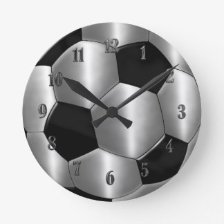 Silver Soccer Ball Clock