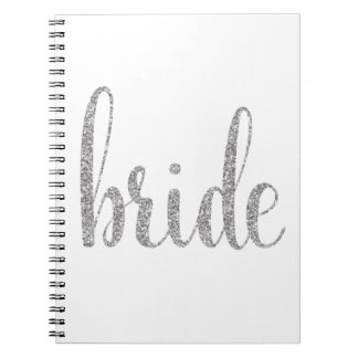 Silver sparkle bride notebook