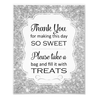 Silver Sparkle Candy Buffet Bridal Shower Sign Art Photo
