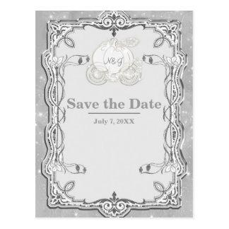 Silver Sparkle Carriage Cinderella Save the Date Postcard