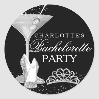 Silver Sparkle Cocktail Bachelorette Sticker