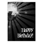Silver Sparkle Disco Ball Happy Birthday Greeting