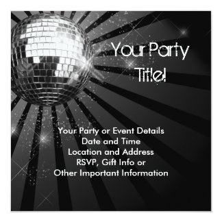 Silver Sparkle Disco Ball Party 13 Cm X 13 Cm Square Invitation Card