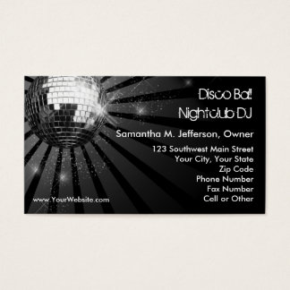 Silver Sparkle Disco Ball Party Business Card