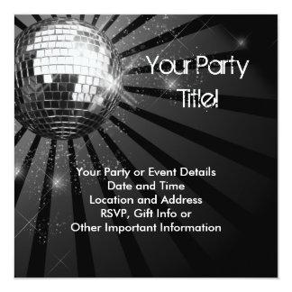 Silver Sparkle Disco Ball Party Card
