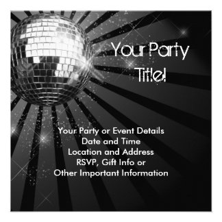 Silver Sparkle Disco Ball Party Custom Invitations