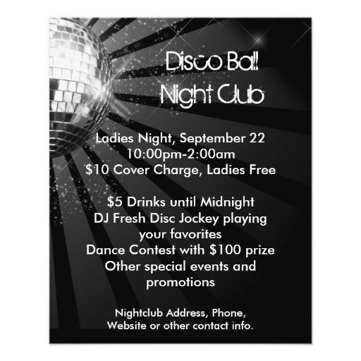 Silver Sparkle Disco Ball Party Flyer